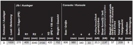 99955650 Żuraw obrotowy + wóżek jezdny - 2 sztuki (udźwig: 1000 kg)