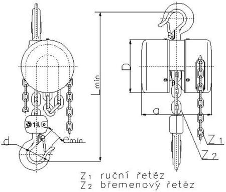 DOSTAWA GRATIS! 2202702 Wciągnik łańcuchowy z przekładnią planetarną Z100/5.0t (wysokość podnoszenia: 3m, udźwig: 5 T)