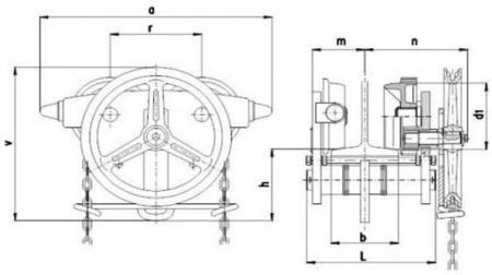 DOSTAWA GRATIS! 22038985 Wózek jedno-belkowy z napędem ręcznym Z420-A/3.2t/4m (wysokość podnoszenia: 4m, szerokość dwuteownika od: 106-125mm, udźwig: 3,2 T)