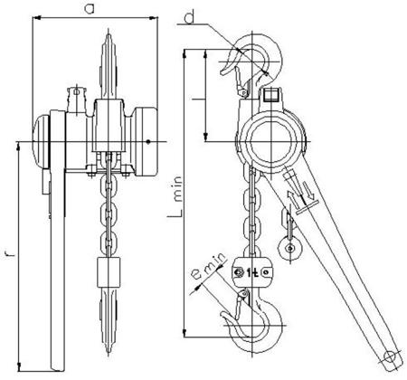 DOSTAWA GRATIS! 2209118 Wciągnik łańcuchowy dźwigniowy, rukcug z łańcuchem ogniwowym Z310/0.5t (wysokość podnoszenia: 3,5m, udźwig: 0,5 T)