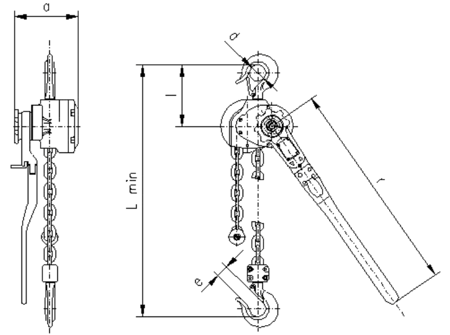 DOSTAWA GRATIS! 2209132 Wciągnik dźwigniowy, rukcug z łańcuchem ogniwowym RZC/0.8t (wysokość podnoszenia: 5,5m, udźwig: 0,8 T)