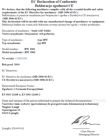 DOSTAWA GRATIS! 3109770 Stół podnośny elektryczny (wymiary platformy: 1000x1600mm, udźwig: 1000 kg, wysokość podnoszenia min/max: 205-990 mm)