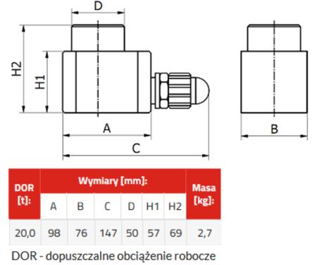 DOSTAWA GRATIS! 33922653 Podnośnik hydrauliczny BZA 20 (wysokość podnoszenia min/max: 57/69mm, udźwig: 20 T)