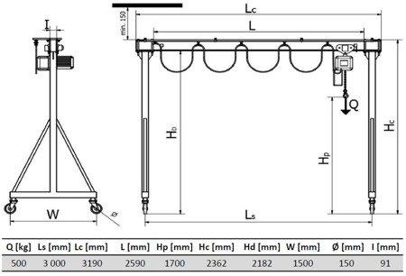 DOSTAWA GRATIS! 33974597 Wciągarka bramowa skręcana miproCrane DELTA 300 z wciągnikiem łańcuchowym elektrycznym z zintegrowany z wózkiem pchanym (udźwig: 480 kg, wysięg: 3000 mm, wysokość podnoszenia: 1700 mm)