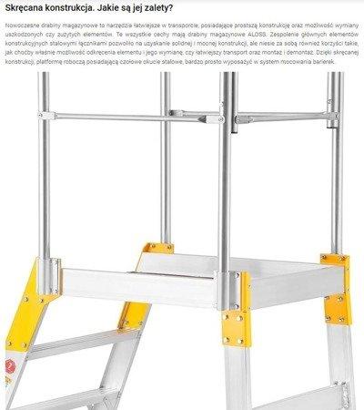DOSTAWA GRATIS! 99674600 Drabina magazynowa - mostek jednostronny Aloss (wysokość robocza: 2,66m)