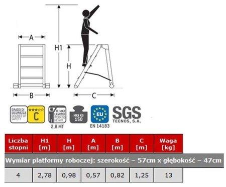 DOSTAWA GRATIS! 99675087 Drabina magazynowa FARAONE 4 stopniowa (wysokość robocza: 2,78m, wymiary platformy: 57x47 cm)