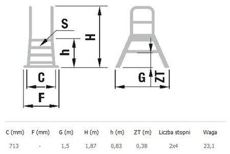 DOSTAWA GRATIS! 99675102 Drabina magazynowa - mostek dwustronny ALOSS - bez kół (wysokość robocza: 2,83m)