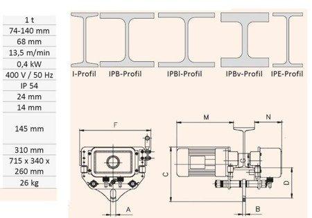 Elektryczny wózek jezdny do wciągarki Unicraft (udźwig: 1 T, szerokość szyny: 74-180 mm) 32276353