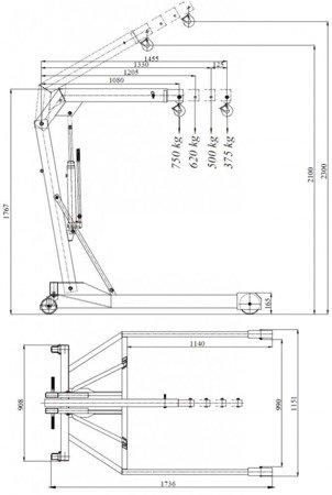 HYDIA Żuraw hydrauliczny ręczny, paletowy (udźwig: od 375 do 750kg) 6177827