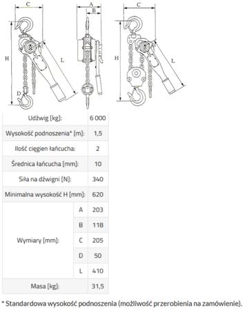 IMPROWEGLE Wciągnik łańcuchowy, rukcug GKS 6,0 (udźwig: 6000 kg, wysokość podnoszenia: 1,5 m) 3398484