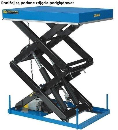 Podnośnik, podest nożycowy (udźwig: 500 kg, wymiary platformy: 1100x1000mm, wysokość podnoszenia min/max: 650-2700 mm, moc: 2,3kW) 01876178