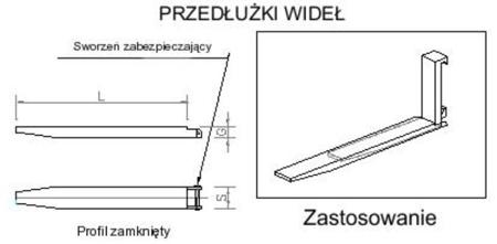 Przedłużki wideł udźwig 6000kg (1500mm) 29016500