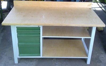 Stół warsztatowy, 2 półki, 4 szuflady (wymiary: 1600x800x900 mm) 77156960