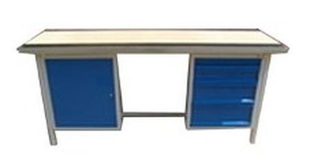 Stół warsztatowy dwustanowiskowy, 4 szuflady, 1 szafka (wymiary: 2000x750x900 mm) 77156895