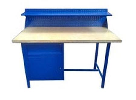 Stół warsztatowy z nadbudową, 1 szuflada, 1 szafka (wymiary: 1500x750x900 mm) 77156922