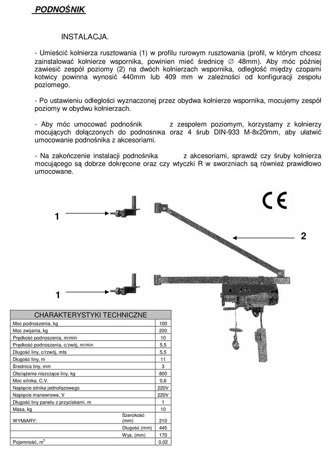 Wciągarka elektryczna linowa budowlana + lina 15m + sterowanie ręczne 1,5m (udźwig: 100/200 kg) 08126408