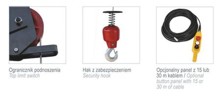 Wciągarka elektryczna linowa budowlana + lina 30m + sterowanie ręczne 1,5m (udźwig: 500 kg) 08115162