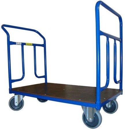Wózek platformowy ręczny dwuburtowy (koła: pełna guma 160 mm, nośność: 400 kg, wymiary: 1200x700 mm) 13340615